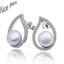 Luxury eggs earings for wedding jewelry E011 Mixed order brilliant tiny artificial pearl earrings(China)