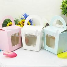 12Pcs Cupcake Box Cake Box Packaging With Handle Single Cupcake Boxes Pudding Case With Lining QCB005(China)