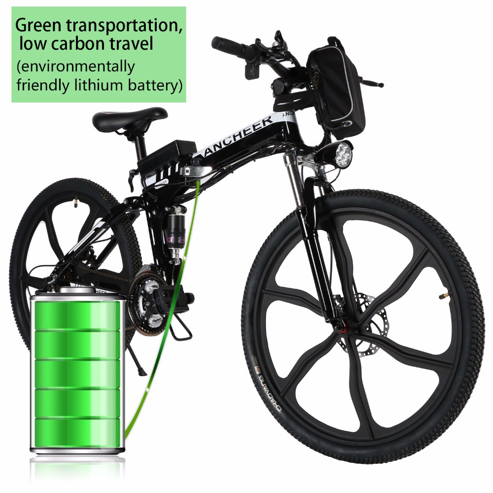 new 26'' 27Speed Folding Electric Disc brake Mountain Bike with Lithium-Ion Battery Anti-shock MTB Disc Brakes Electric Bicycle(China)