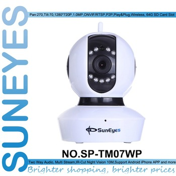 SunEyes  SP-TM07WP 720P HD IP Camera Wireless P2P Plug and Play Baby Monitor  spport Micro SD/TF Card  Slot