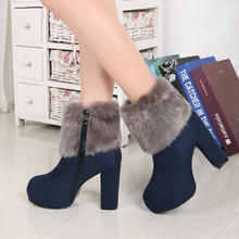 Winter Fashion Warmer Boots 2016 autumn winter Biker boots suede high-heeled Fashion boots female manufacturers