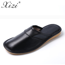 XIZI brand 2017 Couples PU Leather Warm Winter cro shoes rs Home Slippers Non-Slip Thick Plush House Shoes Cotton Men Slippers(China)