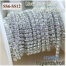 New deals 10yards/roll clear crystal SS6-SS12(2mm-3mm) silver base Rhinestone Chain apparel Sewing style diy beauty accessories