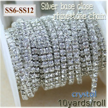 New deals 10yards/roll clear crystal SS6-SS12(2mm-3mm) silver base Rhinestone Chain apparel Sewing style diy beauty accessories(China)