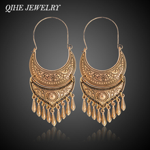 QIHE JEWELRY Ancient Silver Gold Color Tibetan Earring Boho Dangle Charm Statement Silver Color Gypsy Jewelry brincos(China)