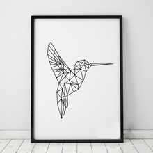 Geometric Birds Wall Stickers Decals Geometric Animals Kingfisher Wall Art 3D Visual Effects Vinyl Murals Poster Home Decor A401(China)