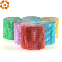 1Yard/91.5CM 20Colors Mesh Trim Bling Diamond Wrap Cake Roll Tulle Crystal Ribbon For DIY Party Wedding Decoration Supplies