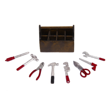 1/12 Dollhouse Miniature Wooden Toolbox with Metal Tools Set Repair Kits Decoration for Doll House Accessories Furniture Toys