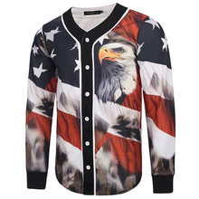 3D Printing T Shirt Men Eagle and Flag Print Mens Cardigan Baseball Jersey Long Sleeve V Neck Male Tops Tee Shirt Homme T-shirt