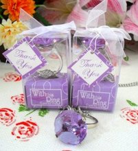 FREE SHIPPING+Cheap Wedding Favors With This Ring Purple Crystal Keychain Ring Portable Mini Key Chains+100pcs/Lot