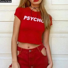 3 COLOR S~M SIZE Funny PSYCHO Print Crop Tee Shirts,darkness/omighty/unif/american fashion short-sleeve t-shirt ladies tshirts
