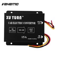 Vehemo Auto Car Vehicle 15A DC 24V to 12V Efficient Power Supply Inverter Transformer Electric Convertor
