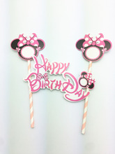 1Set Mickey&Minnie Mouse Happy Birthday Theme Cake/Cupcake Toppers Party Supplies For Kids