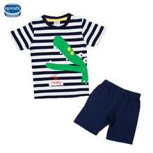 2017 fashion designs striped kids clothes sets nova kids wear applique crocodile baby clothing set summer kids boy casual suits(China)