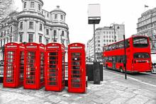 Custom Canvas Wall Decals Black And White Big Ben Poster London Wallpaper London Red Bus Wall Stickers Telephone Boot Mural #260(China)
