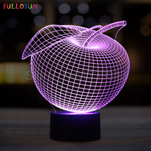 Christmas Gifts Apple 3D Table Lamp LED USB Night Lights as Home Decorations 3D Lights(China)
