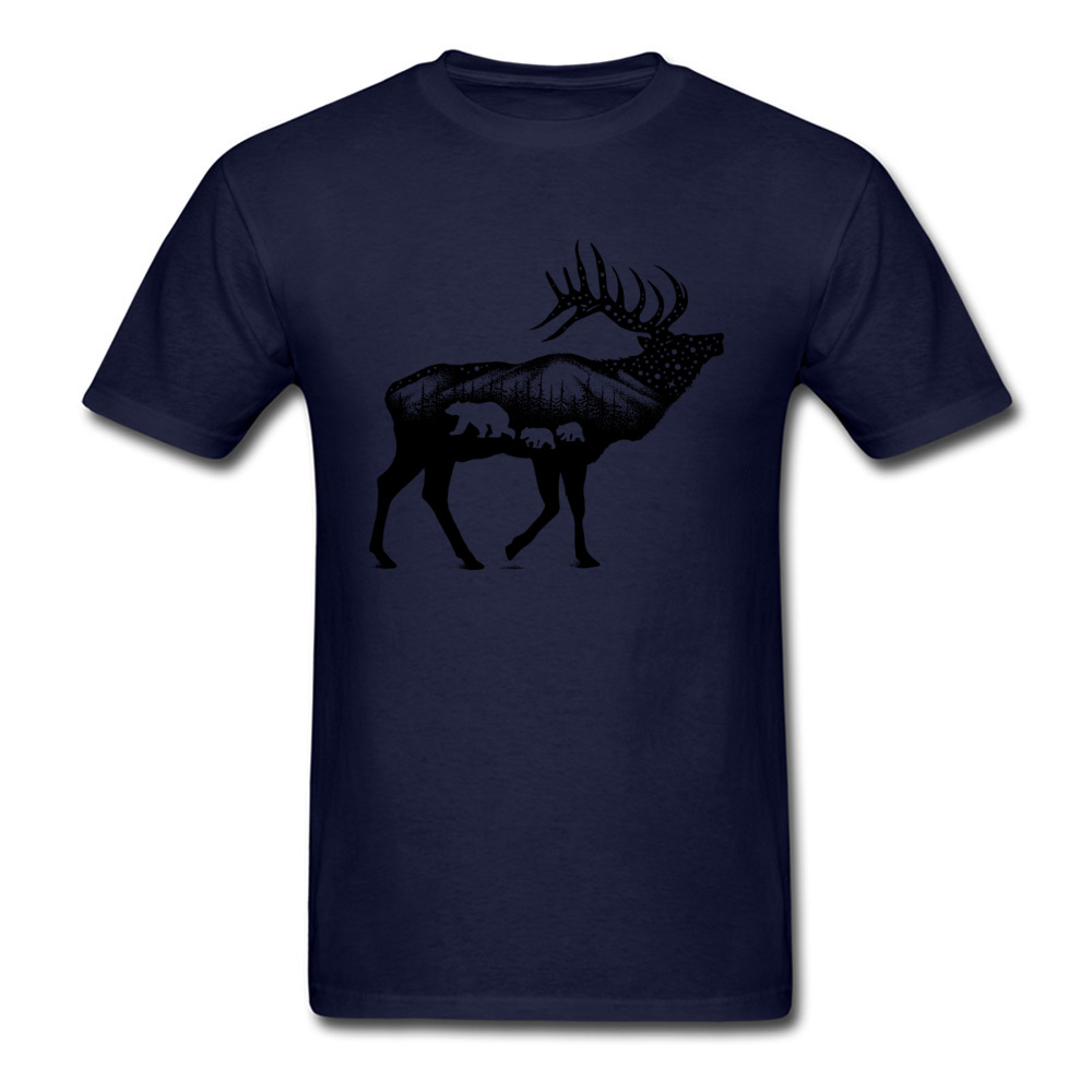 ELK 100% Coon Fabric Tshirts for Boys Short Sleeve Cool Tops T Shirt Graphic Summer O Neck T-Shirt Normal Wholesale ELK navy