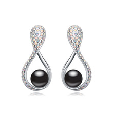 Noble Woman Stud Earrings Made with Swarovski Element Fashion Gorgeous Created Pearl Brincos for Female Design Jewellery Bijoux