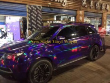 Best Quality Iridescent Purple Chrome Holographic Vinyl Wrap Sticker Rainbow Vinyl Film Bubble Free Car Styling Size:1.50*20M