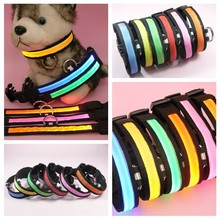 Fashion LED Dog Collar Flashing In Dark Nylon Lighting Safety LED Pet Collar 2.5cm Wide Luminous Pet Products 8 Colors Wholesale(China)