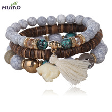 3pcs/set  White simulated-Pearl Elephant Wood Beads Brand Design Wild style Bracelet For Lady