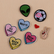 1Pcs New Cartoon Kids Heart Alien Football Letters Embroidery Iron On Patches Clothes Appliques Sew On Motif Badge F0619