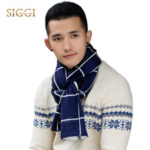 "SIGGI  Mens Thick Plaid Striped  Scarf Knitting Patterns  men 77"" Long Winter Scarf Shawl 3 Patterns Black Navy Gray 88410"