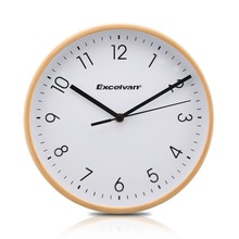 "Excelvan 8"" Wooden Wall Clock Quartz Silent Sweep Movement Clock No-ticking HD Glass Morden Home Wood Clock Green and White(China)"