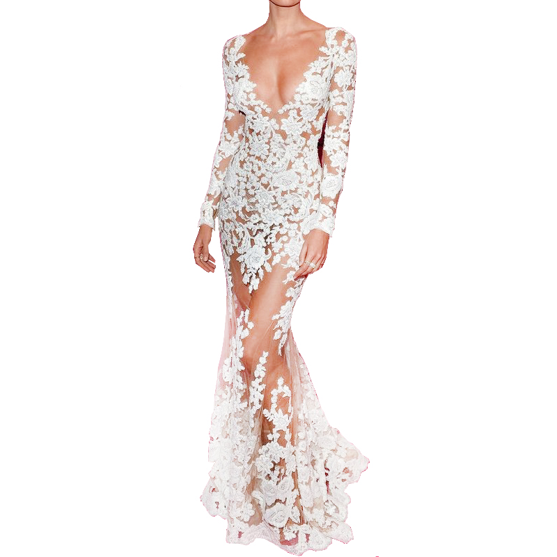 Autumn Runway Dresses Women High Quality Mermaid Long Sleeve Plunge Celebrity White Lace Dres Full-Length See Through Dress