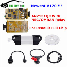 2017 Newest V170 For Renault Can Clip Full Chip Gold CYPRESS AN2131QC OBD2 Diagnostic Interface For Renault 1998-2016 CNP Free