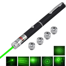 6 in 1 Stylish 532nm 5mW Green Ray Beam Light Laser Pointer Pen Copper Presenter 6 Styles Different Lazer Patterns + 5pcs Caps