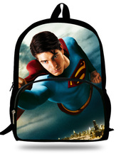 Cool 16inch Heroes Backpack Children Superman Bag School Teenage Boys School Backpack Superman Print Mochila Infantil Menino(China)