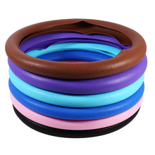 Universal Colorful Skidproof Soft Silicone Auto Car Steering Wheel Cover Shell Black/Pink/Dark Blue/Sky Blue/Purple/Brown(China)