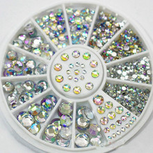 Hot Sale 5 Sizes White Multicolor Acrylic Nail Art Decoration Glitter Rhinestones 1D6X