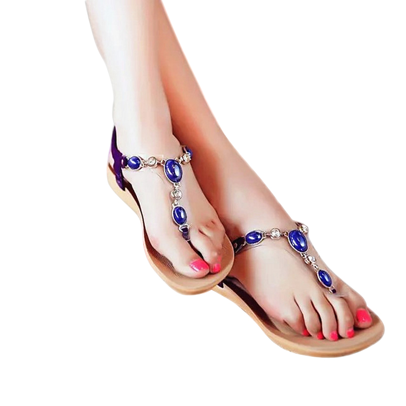 2017 Flat Sandals For Women Elastic Band Beading Flip Flops Women Shoes Summer Casual Fashion Sandals Femme Zapators Mujer BT154<br><br>Aliexpress