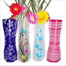 Hot Selling For Decrotion 2pcs New Arrival Unbreakable Foldable Reusable Plastic Flower Vase with High Quality 27x12 cm PVC