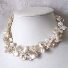 "18"" 2Row 9-15mm White Reborn Keshi Pearl Necklace(China)"