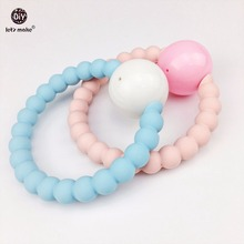 Let's Make 5pcs Light Color Baby Rattles Ring Bell Silicone Teether Bracelets Baby Shower Gift Musical Montessori Silicone Toys(China)