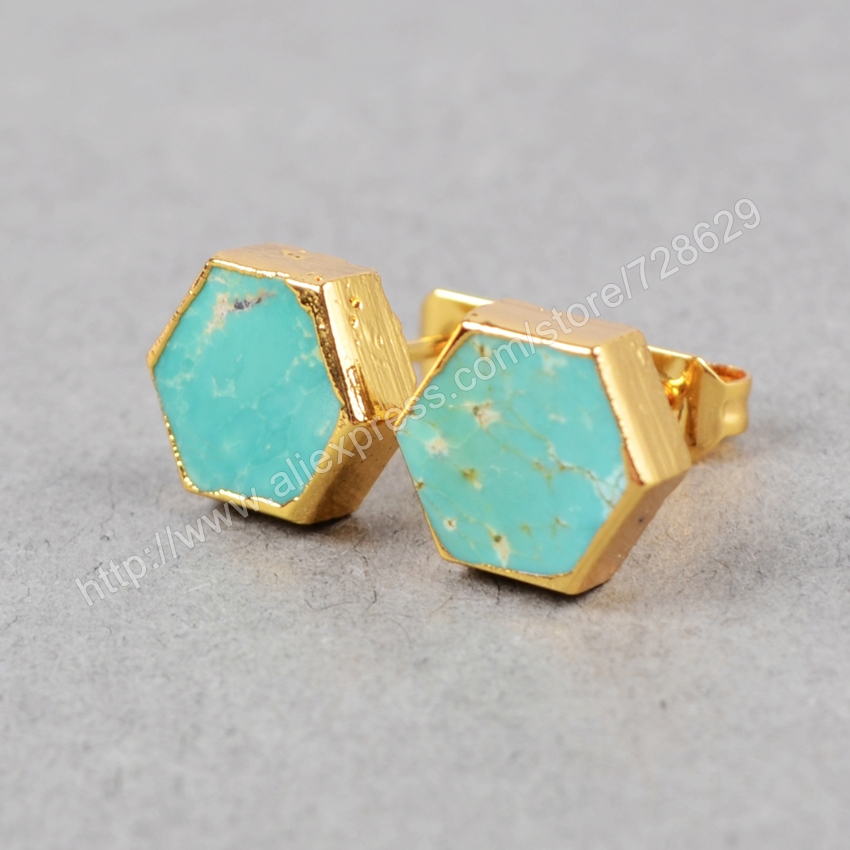 BOROSA 5 pair/lot New Fashion Gold Color Hexagon Turquoises Gold Stud Earrings G0611
