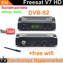 Free Shipping[Genuine]Freesat V7 hd satellite tv receiver DVB-S2 with Cccam powervu youporn youtube freesat v7 set top box+wifi