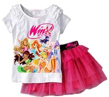 2016 New Girls Clothing Set T shirt + Skirt 2Pcs Suits Winx Club Cartoon Kids Set Children's clothes Free shipping