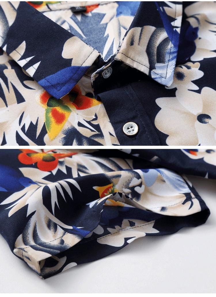 2018 Short Sleeve Mens Hawaiian Shirt Male Casual Camisa Masculina Flower Print Beach Summer Shirts Brand Clothing Men Plue Size 20
