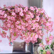 140cm Natural vertical silk cherry blossom for wedding decoration DIY Cherry trees artificial flower bouquet