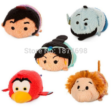Tsum Tsum Mini Plush Set of 5 Cute Aladdin Princess Jasmine Genie Abu Lago Stuffed Soft Smartphone Cleaner Toy Doll Gifts