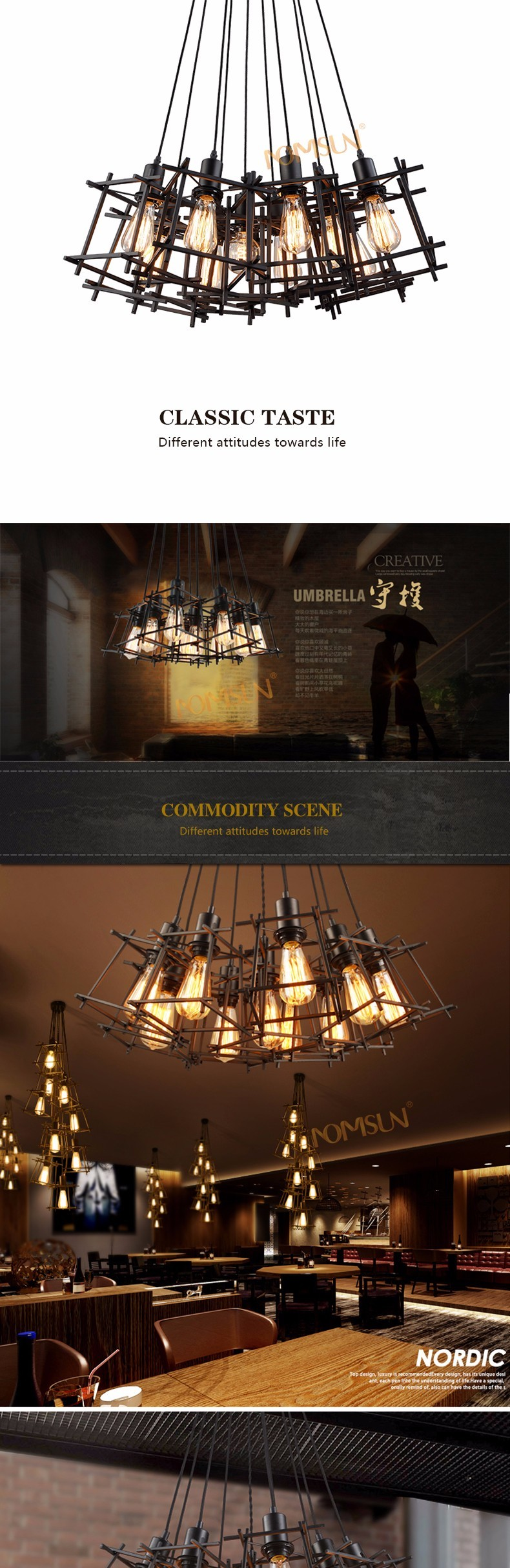 American Loft Vintage pendant light Personality Wrought Iron lights Edison nordic lamp industrial cage lamp lighting fixtures 1