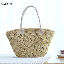 Caker 2017 Hobos Bags For Women Summer Beach Totes Bag Hand-Made Knitting Handbags Lady White Khaki Hook Flower Shoulder Bags(China)