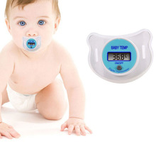 Digital LCD Pacifier Thermometer Baby Nipple Soft Safe Mouth Nipple Temperature Pacifier Chain Clip Holder P15