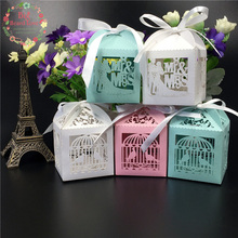Big Heard Love50pc Mult Design Laser Cut Candy Box Chocolate Packaging Love Heart Birdcage Wedding Box Gift Box Party Decoration