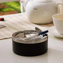 Hot Fashion Stainless Steel smokeless Ashtray with lids Windproof Cigarette smoking tool Ash Tray(China)