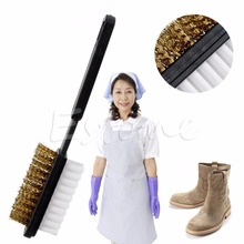 THINKTHENDO Hot Selling A Shape 2 Side Shoe Cleaning Bristle Brush Suede Nubuck Boot Shoes Cleaner